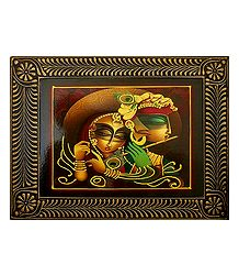 Radha Krishna Playing Flute - Deco Art Wall Hanging