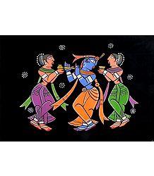 Krishna with Gopinis - Jamini Roy Painting