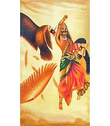 Jatayu Vadh - Raja Ravi Varma Multicolor Canvas Painting