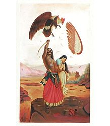 Jatayu Vadh - Raja Ravi Varma Multicolor Painting on Canvas