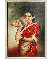 Lady with Fruit Basket - Raja Ravi Varma Painting