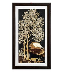 village scene - Straw Craft Wall Hanging
