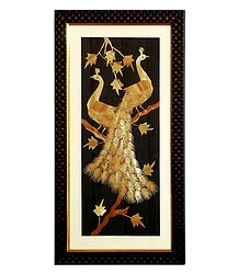 Peacocks - Straw Craft Framed with Glass - Wall Hanging