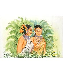 Tribal Friends - Painting on Silk