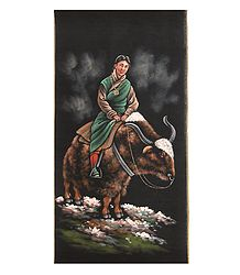 Lady on the Yak - Painting on Cotton Cloth
