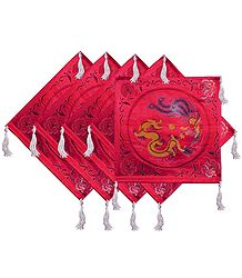 Five Pieces Dark Red Satin Silk Cushion Covers Depicting Chinese Dragon and Bird