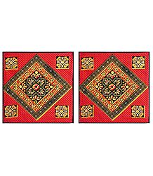 Set of 2 Printed Cotton Cushion Covers with Embroidery and Mirrorwork