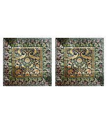 Set of 2 Silk Cushion Covers with Weaved Zari Design