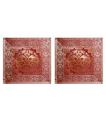 Set of 2 Silk Cushion Covers with Zari Elephant Design