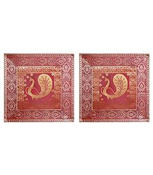 set of 2 Silk Cushion Covers with Weaved Zari Elephant Design