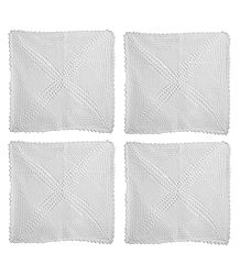Set of 4 White Crocheted Cushion Covers