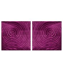 Magenta Satin Cushion Covers with Swirl Design
