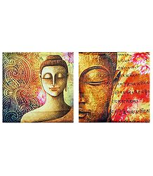 Set of 2 Satin Cushion Covers with Buddha Print