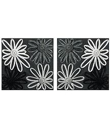 Set of 2 Satin Cushion Covers with Ribbon Flowers