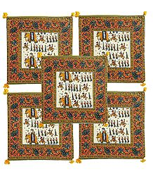Set of 5 Procession Print Cotton Cushion Covers