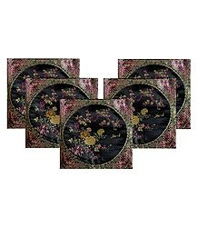 5 Pieces Black Satin Silk Cushion Covers with Floral Design