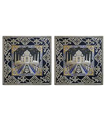 Set of 2 Silk Cushion Covers with Taj Mahal Design