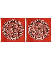 Set of 2 Kantha Stitch Rust Cushion Covers