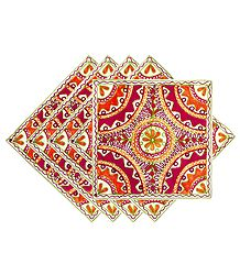 Set of 5 Katchi Embroidered Cushion Covers with Mirrowork