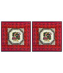 Printed Cotton Cushion Covers Depicting Folk Dancers