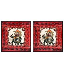 Two Pieces Printed Cotton Cushion Covers Depicting Rajput Queen on Elephant
