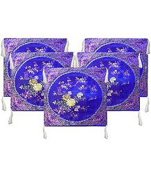 Five Pieces Dark Blue Satin Silk Cushion Covers with Floral Design