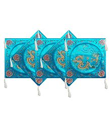 Five Pieces Dark Cyan Satin Silk Cushion Covers Depicting Chinese Dragon