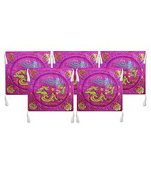 Five Pieces Dark Magenta Satin Silk Cushion Covers Depicting Chinese Dragon