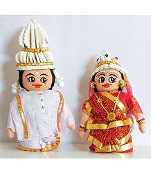 Bengali Bride and Bridegroom Doll Set