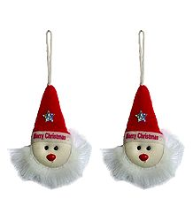 Set of 2 Hanging Santa Claus for Christmas Decoration