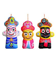 Jagannath, Balaram, Subhadra - Hanging Cute Cloth Doll