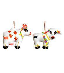 Krishna's Cow with Calf - Hanging Cute Cloth Doll