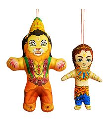 Narasimha Avatar and Prahlad - Hanging Cute Cloth Doll