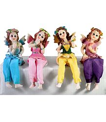Set of 4 Cute Kid Fairies -  Stone Dust Statue
