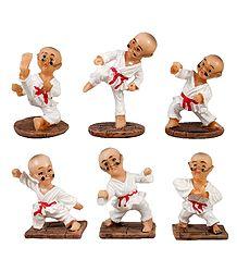 Set of 6 Karate Kids -  Stone Dust Statue