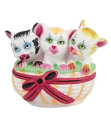 Three Kittens in a Basket - Plaster of Paris