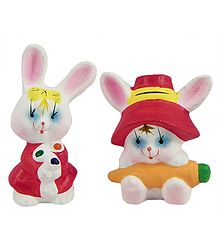 Pair of Cute Bunnies Showpiece