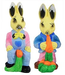 Set of 2 Cute Rabbits