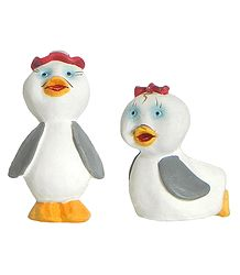 Cute Duckling Pair - Plaster Of Paris