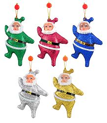 Set of 5 Hanging Multicolor Santa Claus for Christmas Decoration