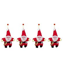 Set of 4 Hanging Red Santa Claus