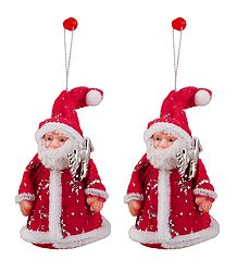 Set of 2 Hanging Red Santa Claus for Christmas Decoration