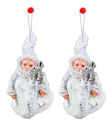 Set of 2 Hanging White Santa Claus for Christmas Decoration