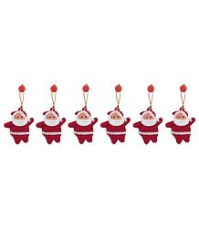 Set of 6 Hanging Santa Claus