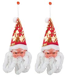 Set of 2 Santa Claus Face for Christmas Decoration - Wall Hanging