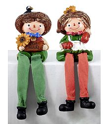 Set of 2 Cute Dolls -  Stone Dust Statue