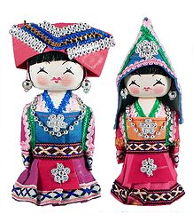 Pair of Chinese Costume Dolls
