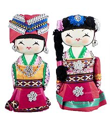 Set of 2 Chinese Costume Dolls