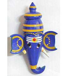 Blue Ganesha Face (wall Hanging) - Chennapatna Doll