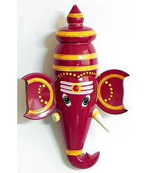 Red Ganesha Face (wall Hanging) - Chennapatna Doll